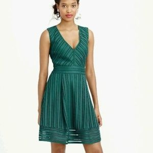 J.Crew Striped forest green Eyelet Dress Size 4